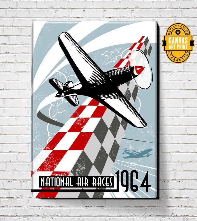 Man Cave Canvas Art : Vintage air races canvas art print large wall man
