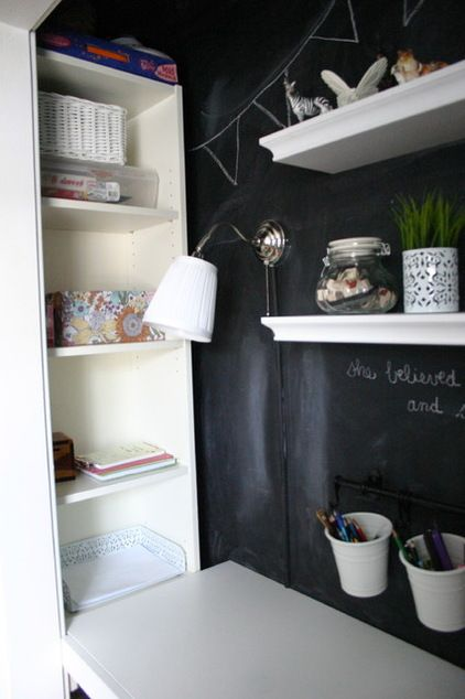 A Billy Bookcase Was Used In The Corner Of This Closet Make Over. (eclectic  By Christina Katos)