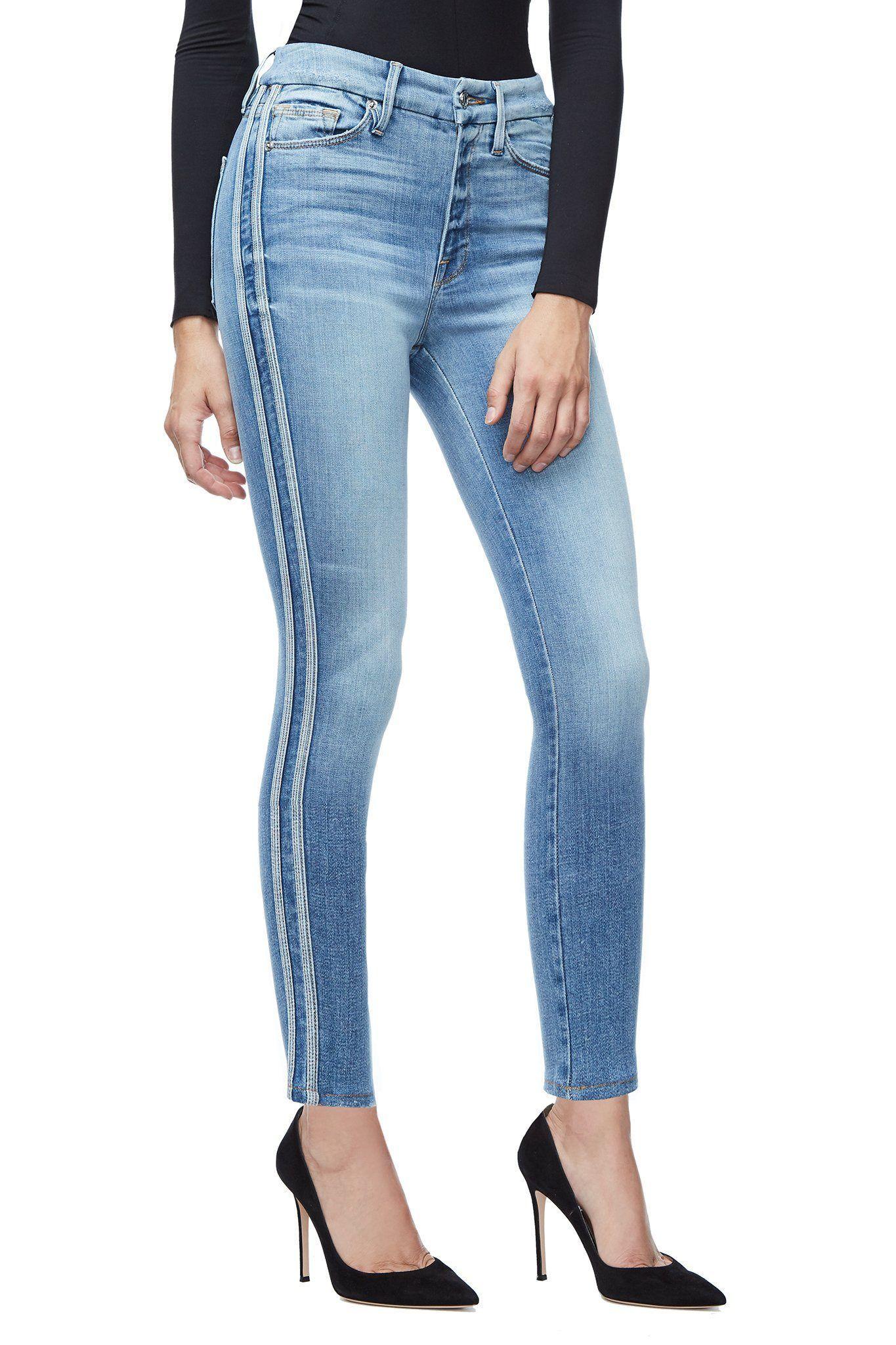 8a0d239425d Ga Sale Good Waist Athletic Stripe Jeans - Blue121