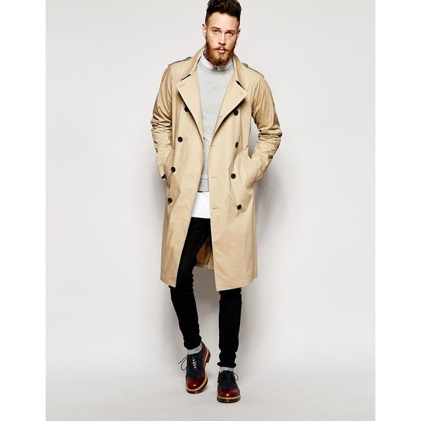 ASOS Lightweight Trench Coat In Stone (637745 BYR) ❤ liked on Polyvore featuring men's fashion, men's clothing, men's outerwear, men's coats, tall mens coats, mens lightweight trench coat, mens trench coat, mens double breasted coat and asos mens coats