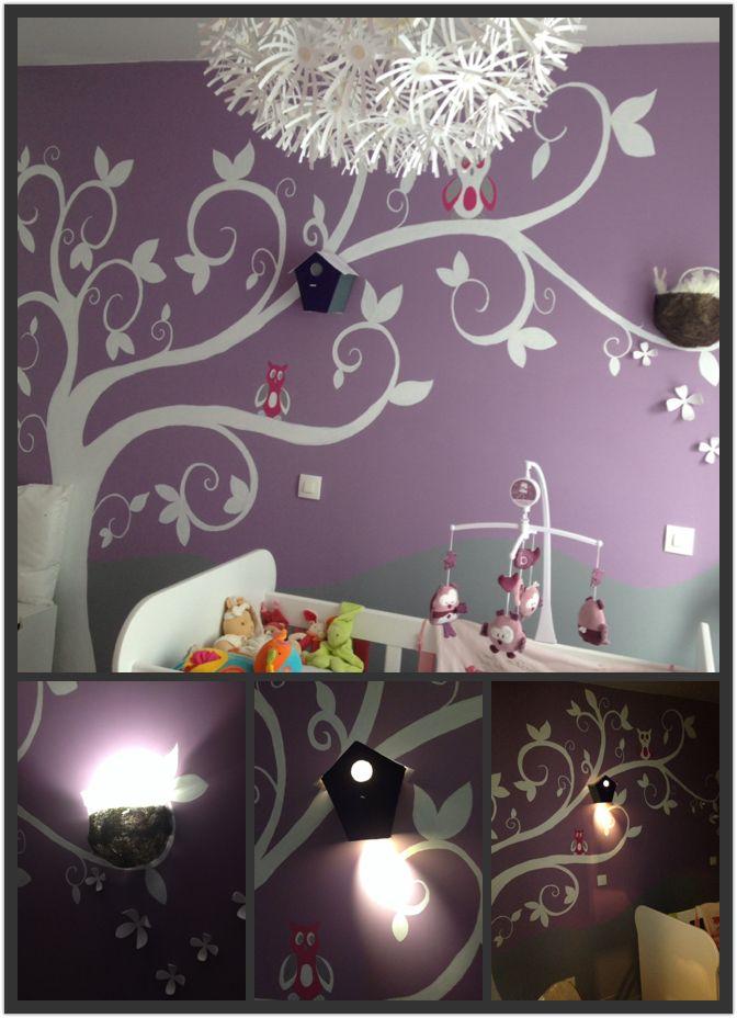 Fresque murale arbre et hibou avec appliques originales en forme de maison oiseau et nid - Fresque murale chambre fille ...