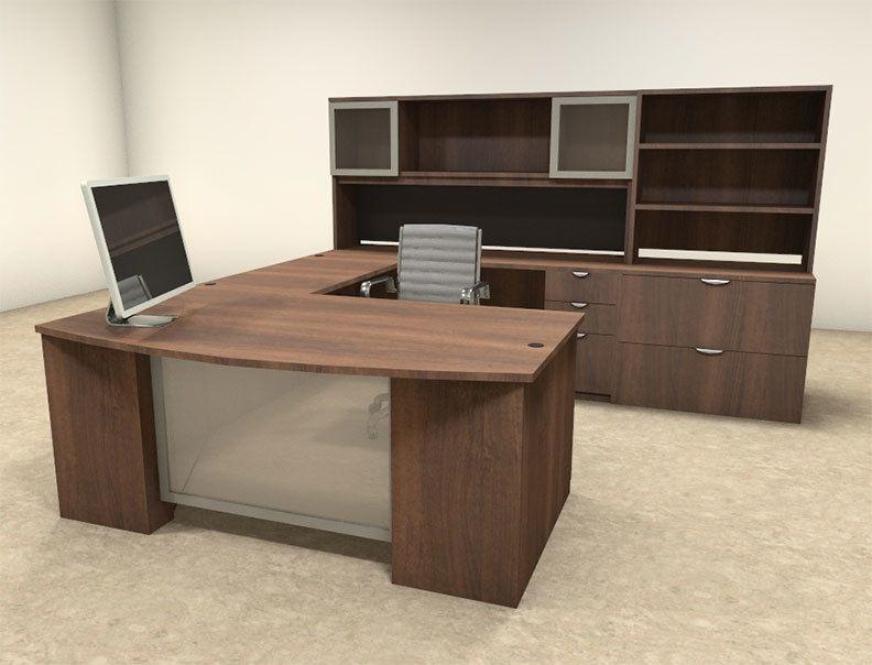 6pc U Shaped Modern Contemporary Executive Office Desk Set Of