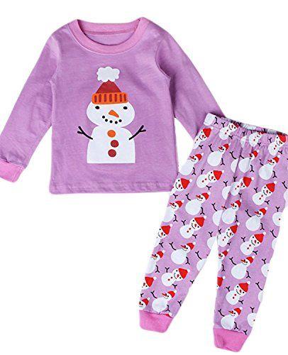 Garsumiss Little Girls Snowman Christmas Pajamas Set Children Christmas PJs  100 Cotton Sleepwear Size 2 to 9 Years 1cefd0dcb