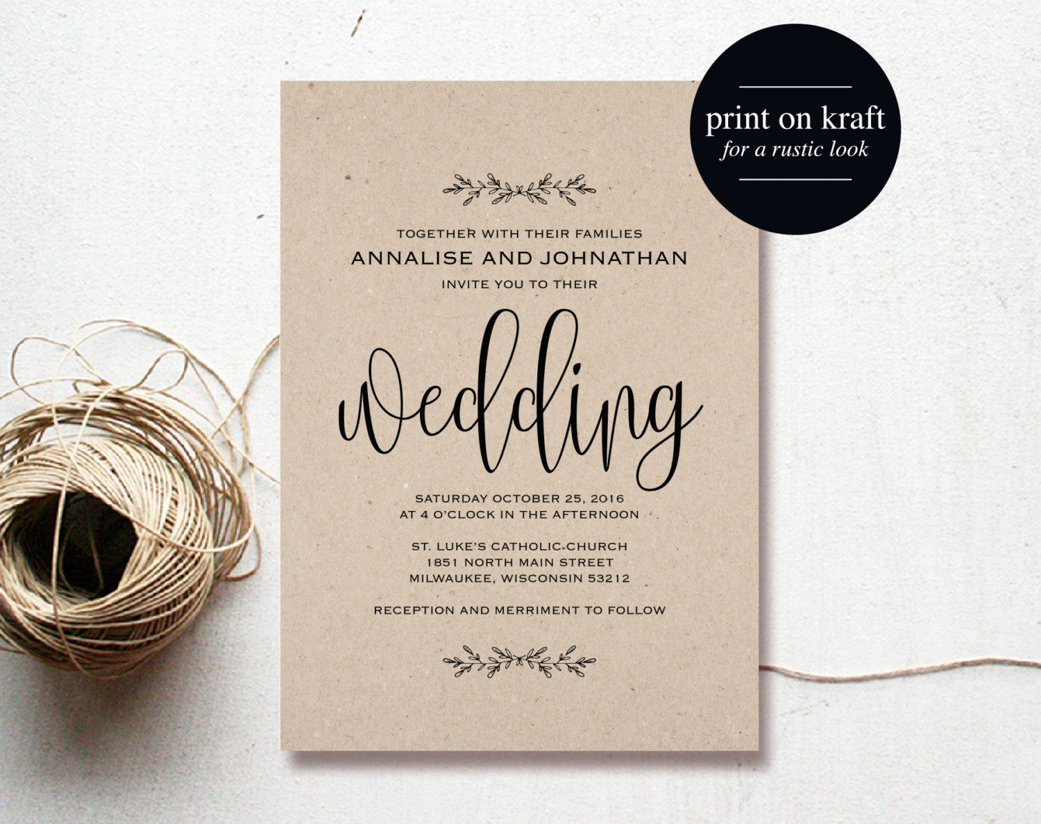 Kraft wedding invitation printable rustic invitation set invite purchase this listing to receive 5 high resolution wedding invitation template downloads for you to edit stopboris Choice Image