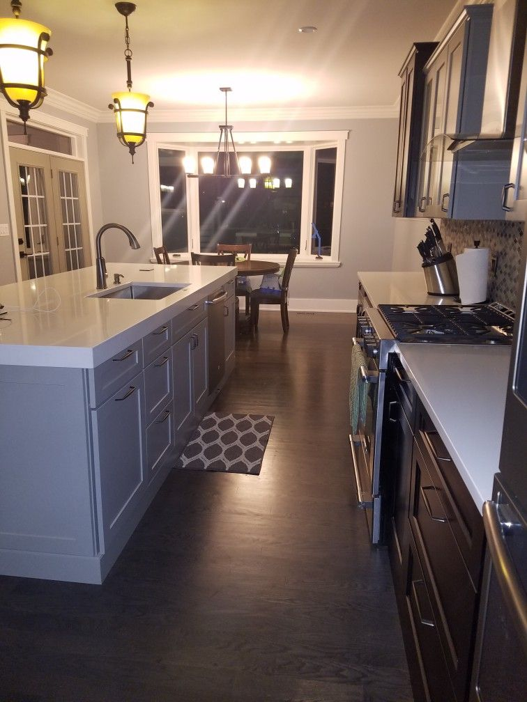 Kitchen Two Toned Cabinets Grey And Java With Sherwin