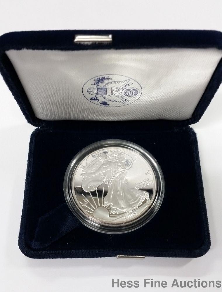 2004 1 Oz Fine Silver 99 9 American Eagle One Dollar Proof Coin Bullion Proof Coins Bullion Coins