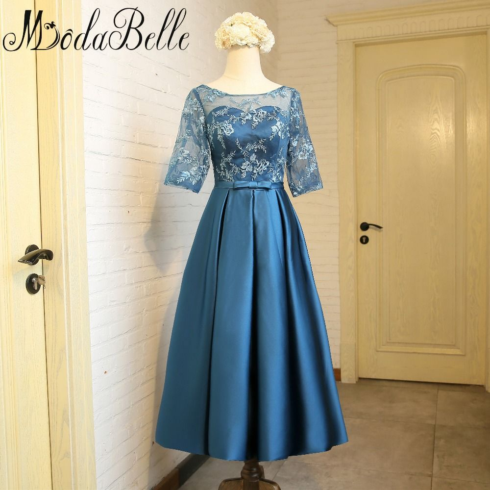 Modabelle Teal Blue Bridesmaid Tea Length Dress Lace Satin Wedding ...