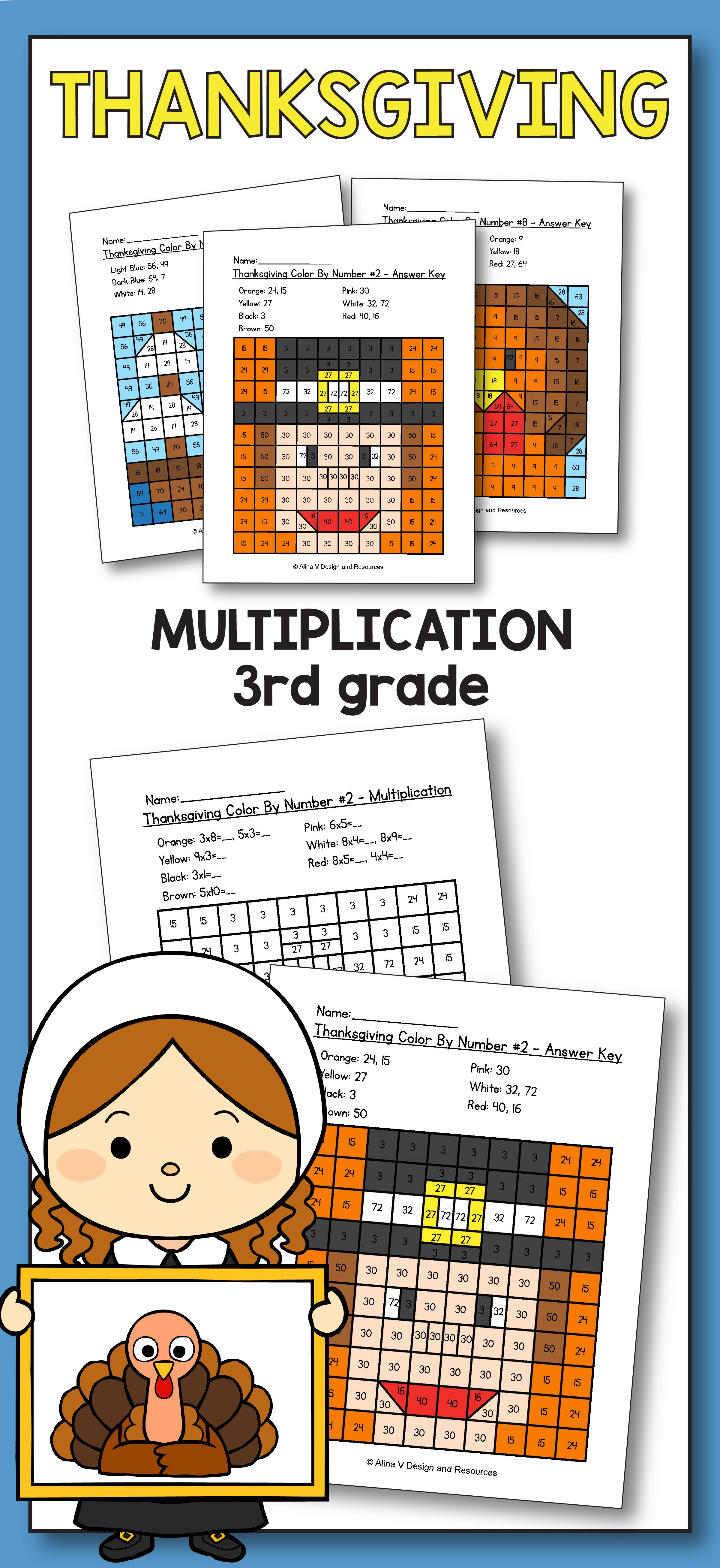 medium resolution of Thanksgiving Multiplication Math Worksheets for 3rd grade kids is fun with  the…   Thanksgiving math worksheets