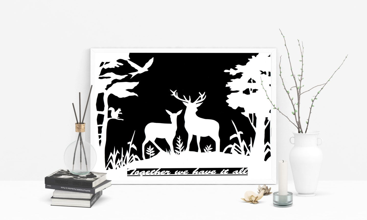 Paper cut out stag papercut personalized gift st year