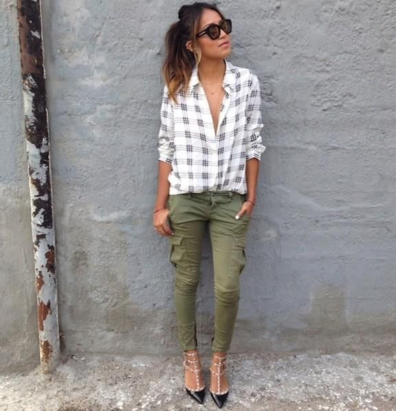 Look Pantalon Cargo Verde Mujer