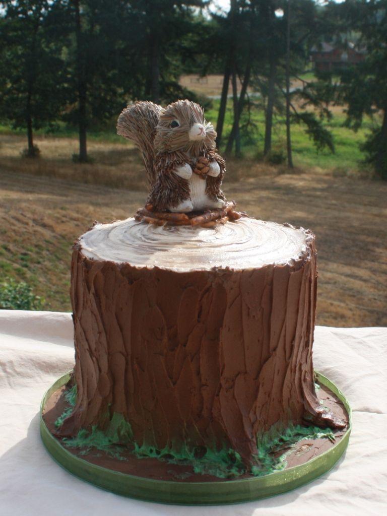 woodland cake theme   Party Cakes: Woodland Tree Stump Cake