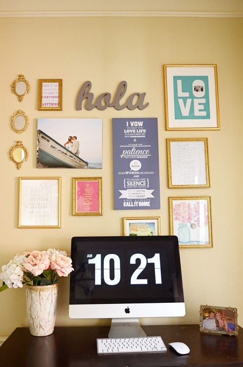 like the wall decor and how the pictures are arranged | Home ...