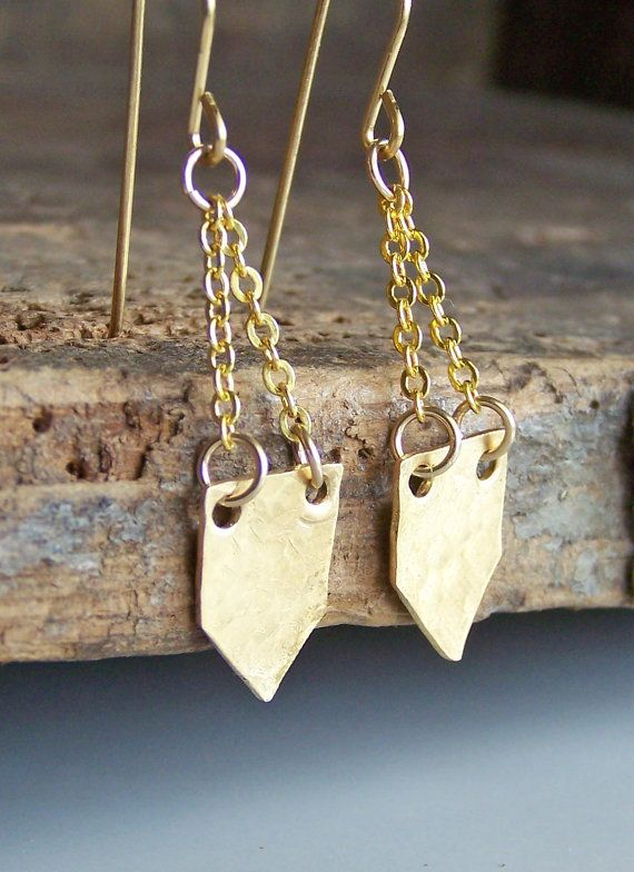 Hammered Brass Earrings, Brass Earrings, Metalwork Earrings, Brass Shields, Etsy Jewelry, Jewelry. $16.00, via Etsy.
