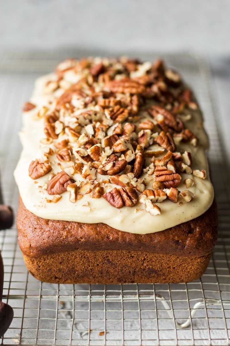 Vegan pumpkin bread with maple frosting Recipe Recipes