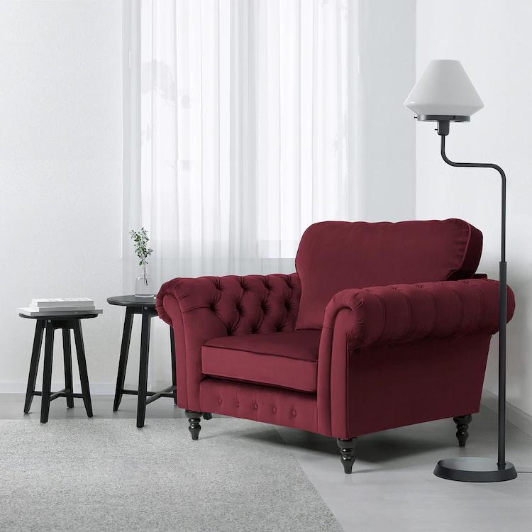GREVIE velvet dark red, Armchair IKEA in 2020 Velvet