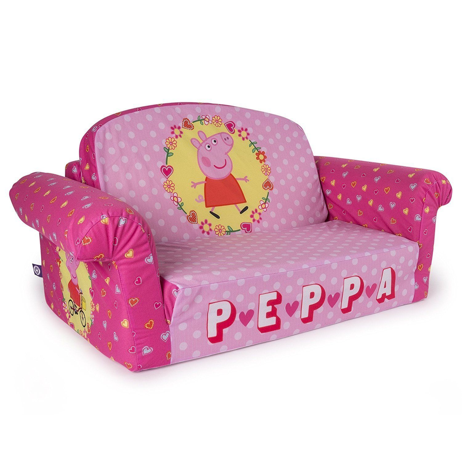 Pink Peppa Pig Plush Kids Chair Fold Out Padded Sofa Bed Lounge .