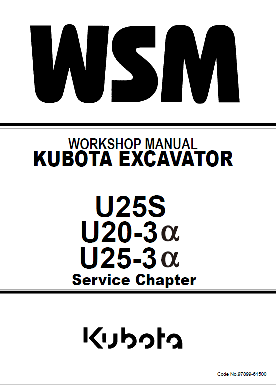 Kubota U25s U20 3a U25 3a Workshop Service Manual Kubota Kubota Excavator Workshop