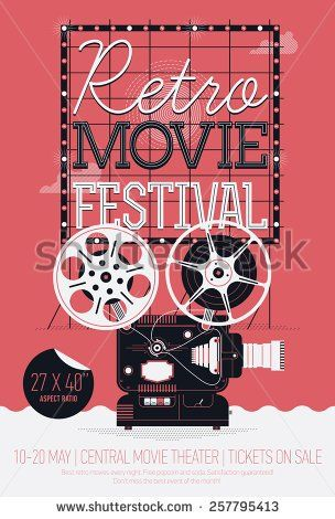 Stock Vector Cool Vector Detailed Poster On Retro Movie Festival Event With Cinema Motion Picture Film Proje Event Poster Design Poster On Film Festival Poster