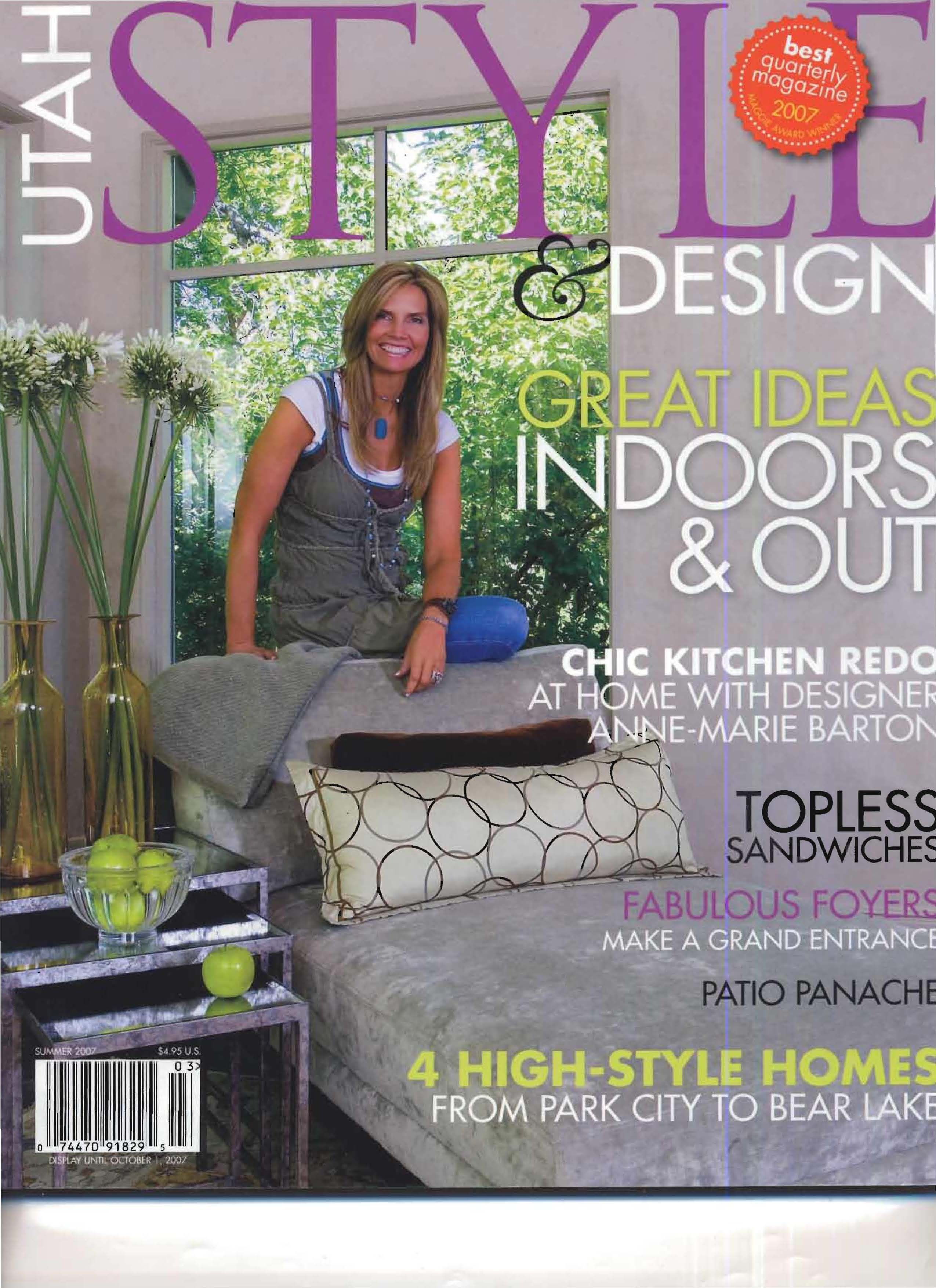 Anne Marie Barton featured in Utah Style and Design Magazine 2007  #utahstyle #ambdesign #