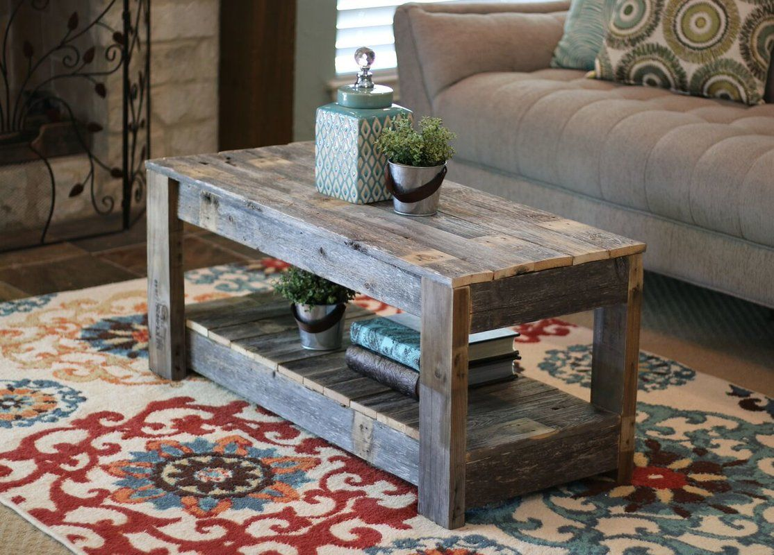 Easthampton solid wood coffee table with storage coffee
