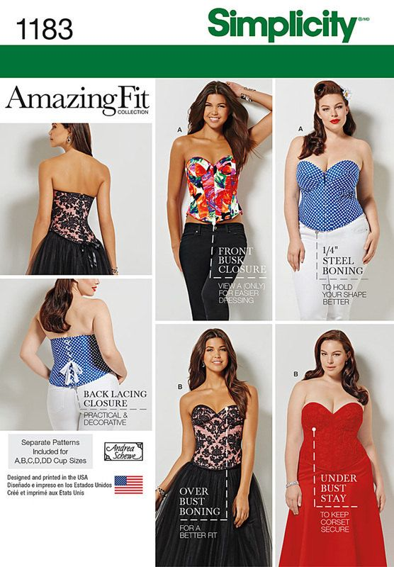 Simplicity 1183 Amazing Fit Corset Sewing Pattern Diy Laceup Etsy Couture Robe Couture Libre Corset