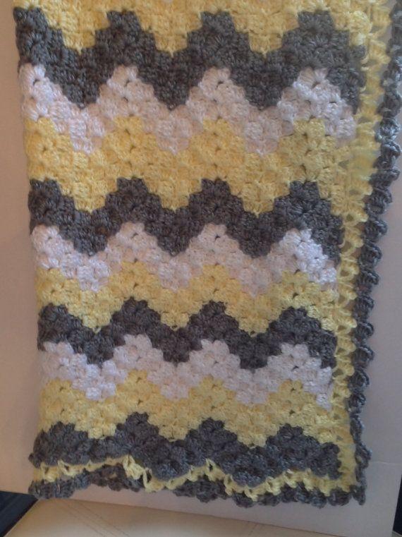 Crochet baby blanket, chevron baby blanket, gray and yellow chevron ...