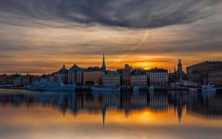 Télécharger Fonds D écran Stockholm Coucher De Soleil Le