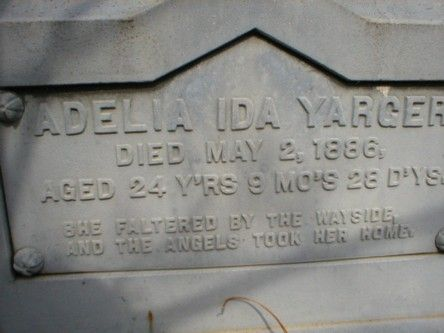 """""""She faltered by the wayside, and the angels took her home."""" Saint Paul Cemetery Glenford, Ohio"""