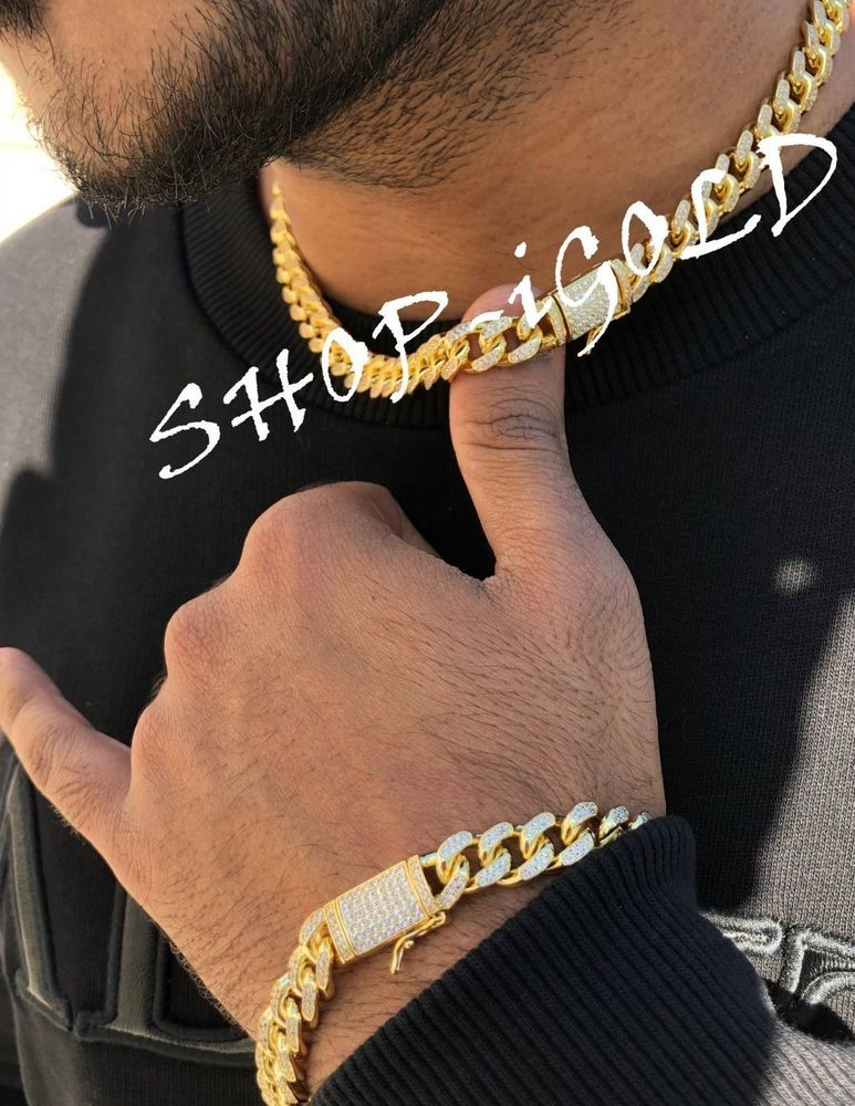 76f2be0a30d Men s Iced Out 10mm Miami Cuban Chain Link 18
