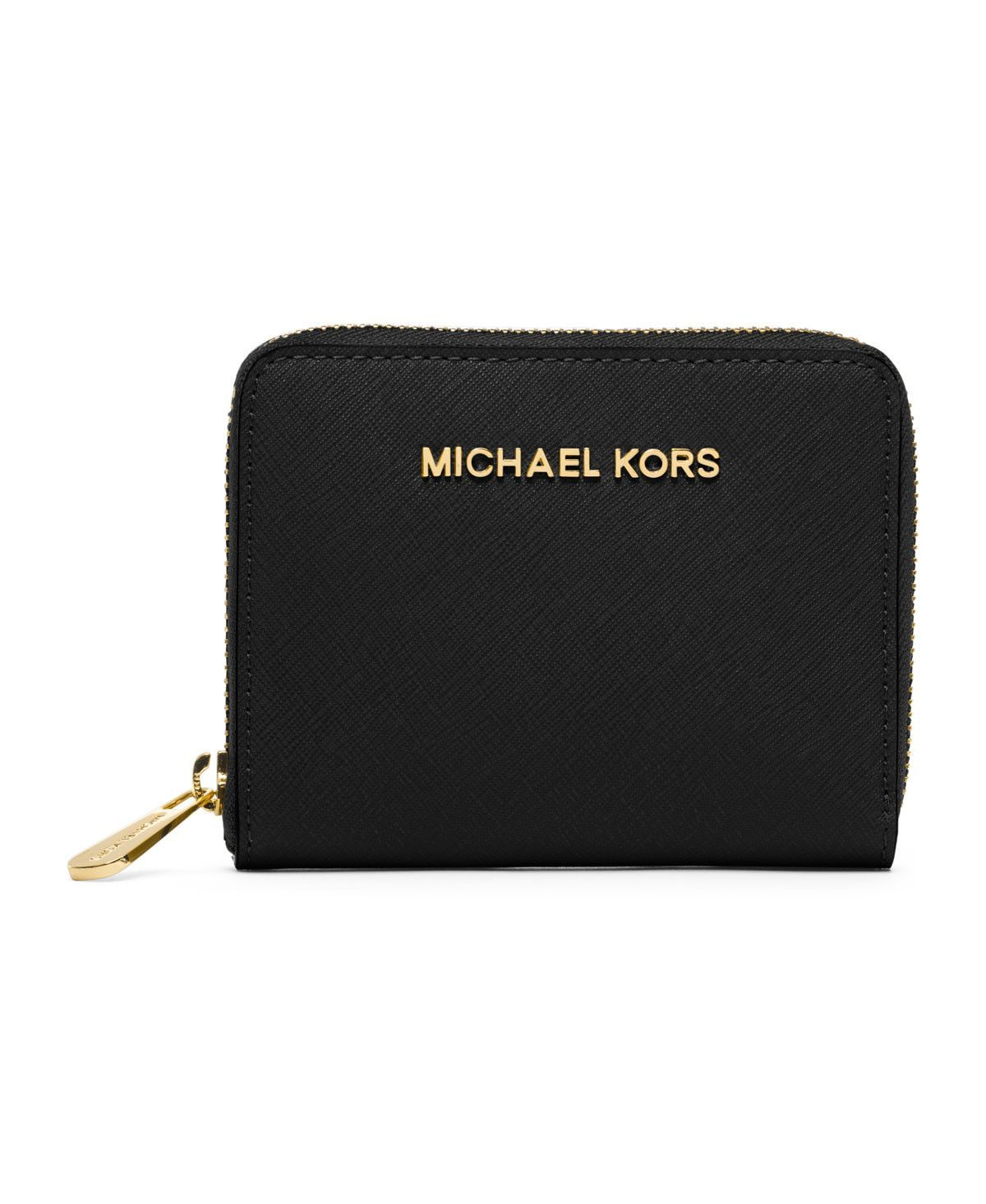 63c3eda54462 MICHAEL Michael Kors Medium Jet Set Zip-Around Travel Wallet in Black