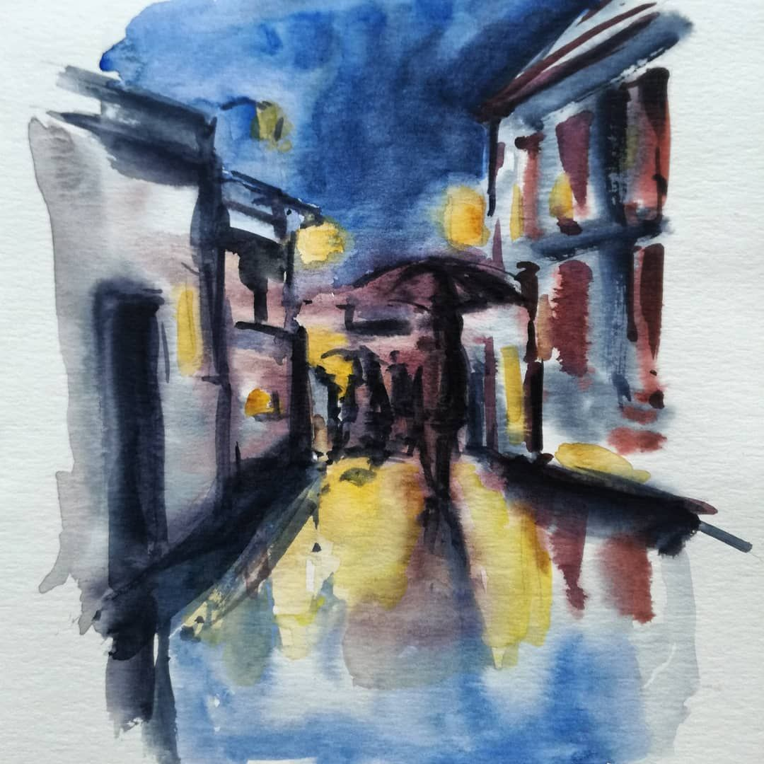 Ambiance De Nuit A L Aquarelle Nightwatercolor Nightcity