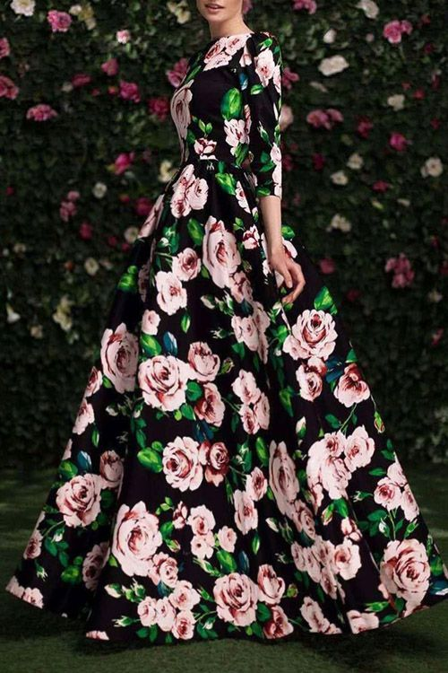 4c3d51d429a4 3 4 Sleeve Floral Print Maxi Dress