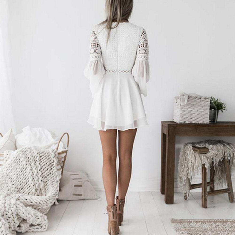 Lisetoo White Red Women Dress Hollow Out Long Sleeve Lace Chiffon Summ - lisetoo