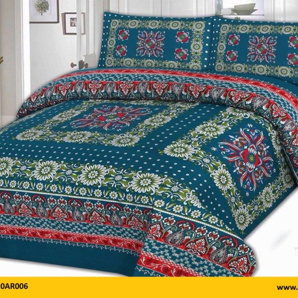 Kt1020ar006 Brand Name Aroosh 3 Pcs Printed Bed Sheets 100 Cotton 1 King Size Sheet 240cm X 254cm 2 Pillow Covers 48cm 74cm 13cm Weight 1250