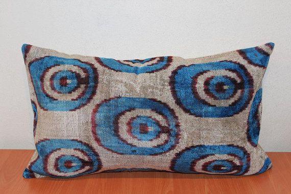 Astounding Blue Ikat Pillow Throw Pillows For Sofa Silk Velvet Ikat Ibusinesslaw Wood Chair Design Ideas Ibusinesslaworg