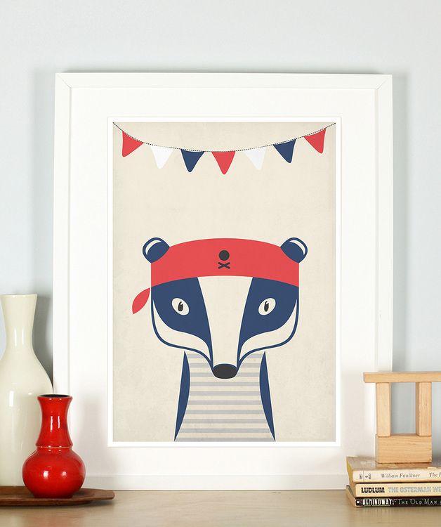 Drucke plakate kinderzimmer pirat dachs bild seemann tiere a3 ein designerst ck von - Kinderbilder wand ...