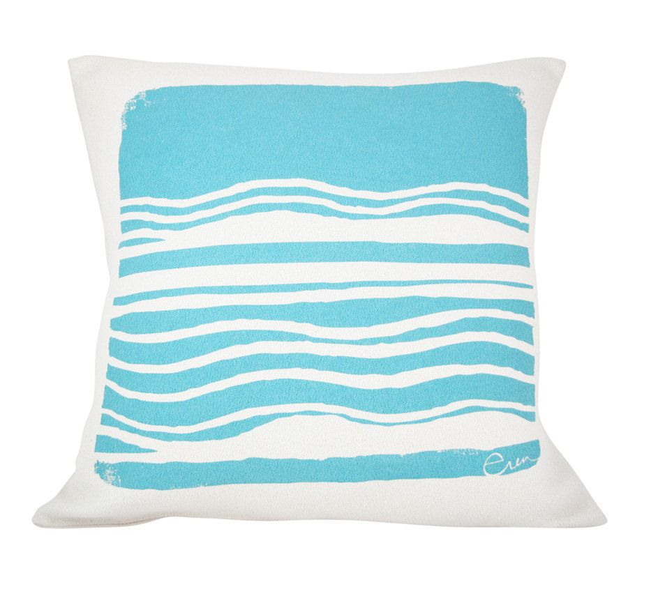 Decorative pillow cushion blue abstract design ocean by erinflett