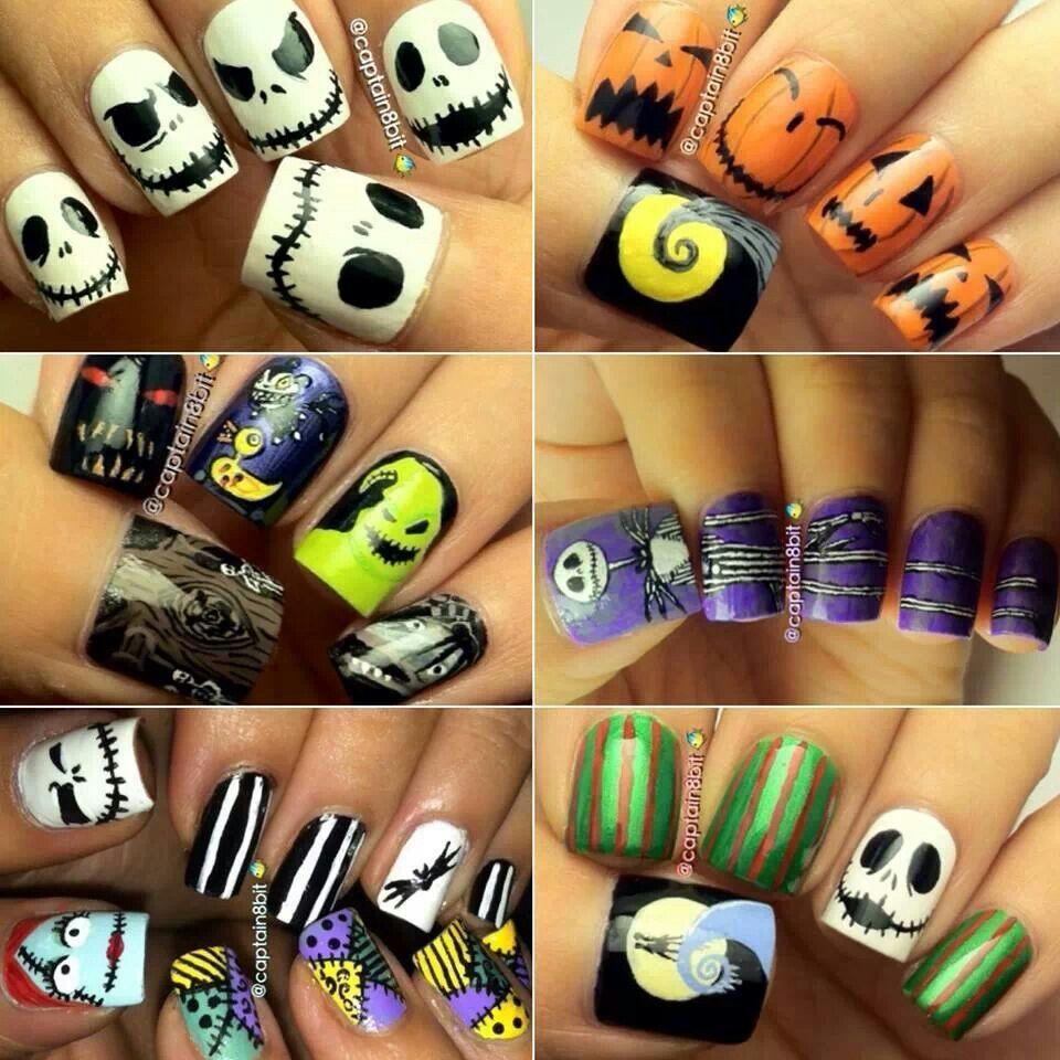 Nightmare Before Christmas nails | Hair, nails, makeup | Pinterest ...