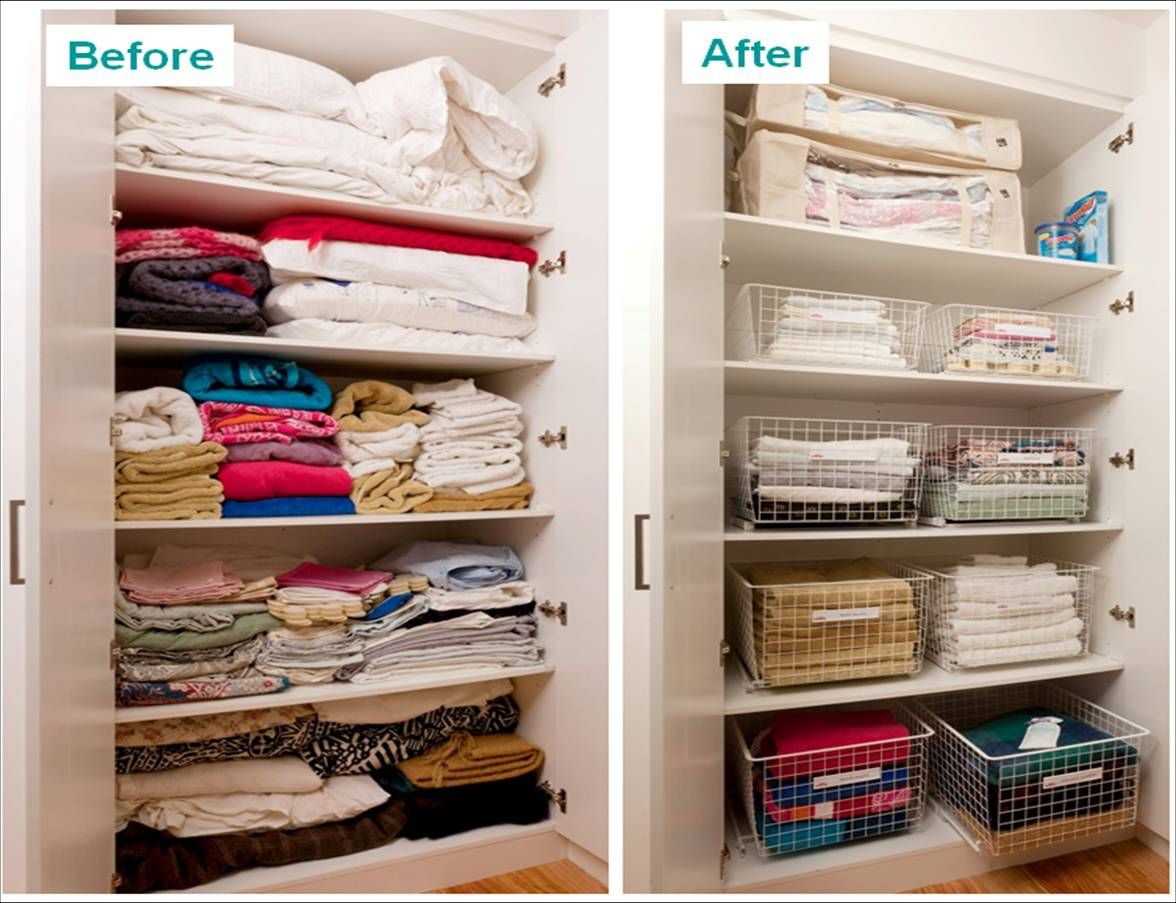 Linen closet organization new apartment pinterest for Organizing ideas for closets
