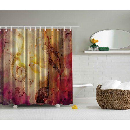 Modern Abstract Musical Artwork Class Music Note Jazz Extra Long Shower  Curtain