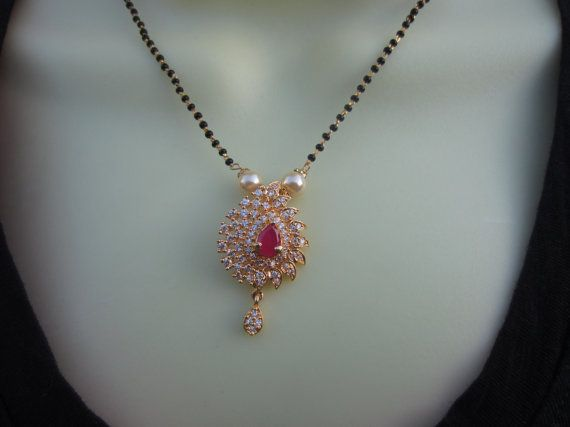 Ruby Pendant Mangalsutra CZ and Ruby Wedding Jewelry by Alankaar