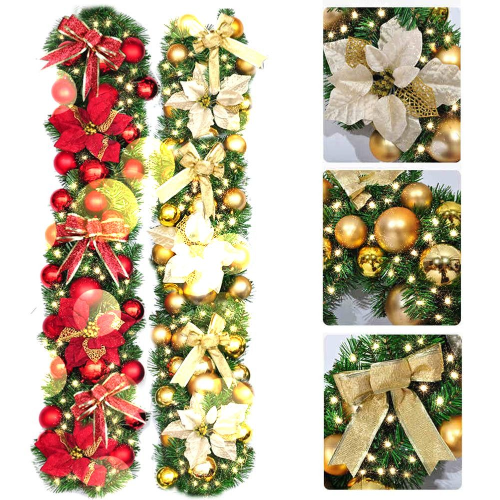 2 7m Christmas Garland Green With Red Gold Bows Lights Ornaments Christmas Decorations For Home Decorations Christmas Ornaments Walmart Com Christmas Garland Christmas Decorations Garland Christmas Tinsel