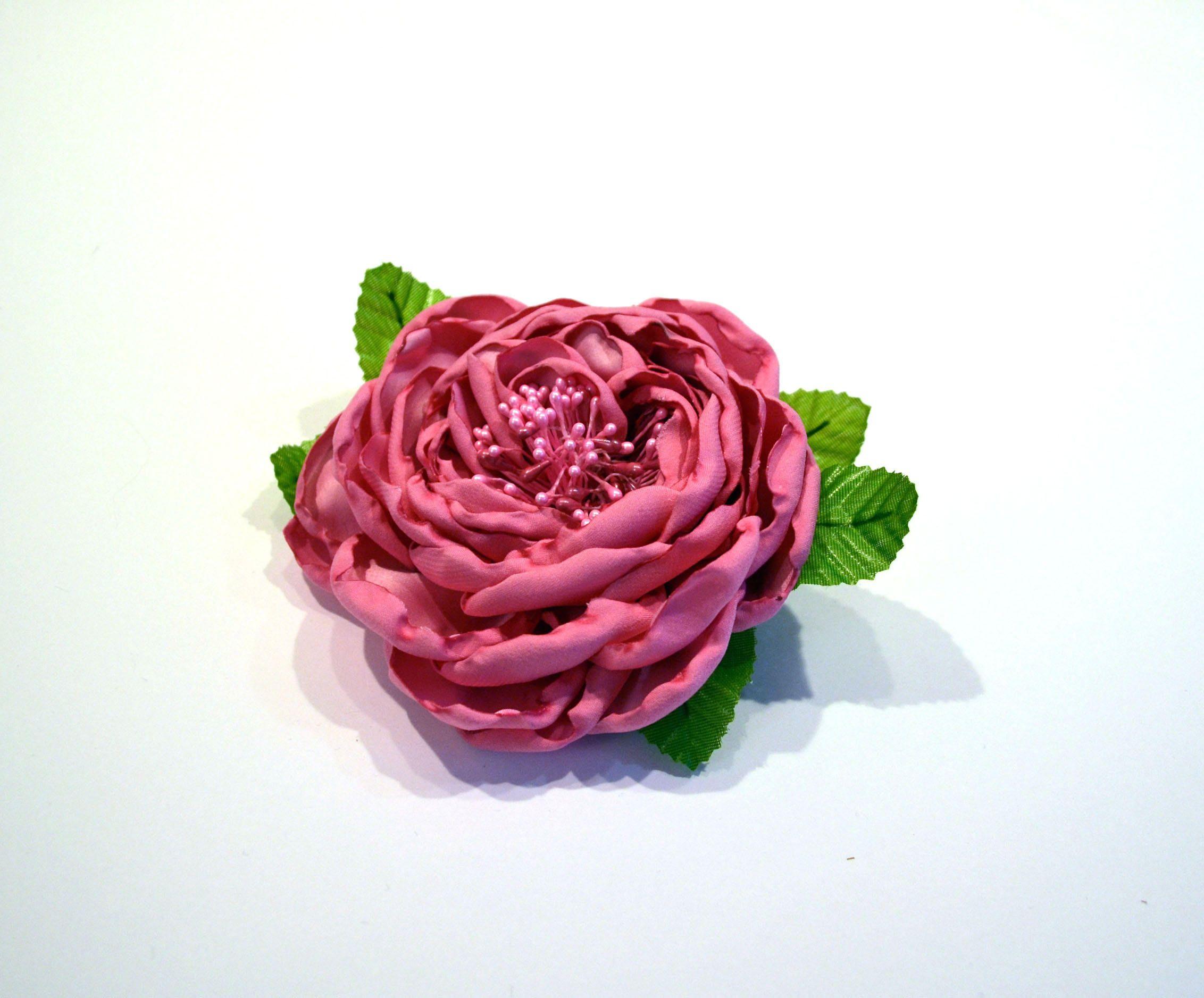 Silk Floral Fuchsia Pink Rose Brooch Handmade Flower Pin Roses