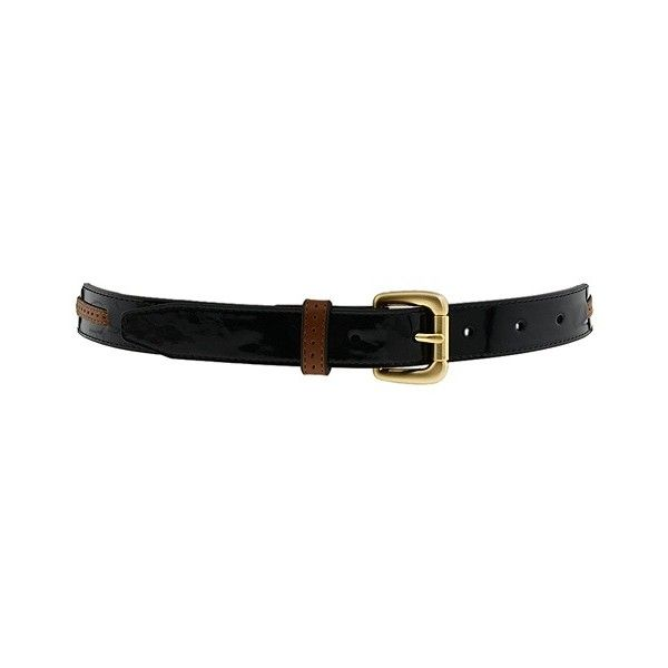 Cole Haan - London Laced Thru Belt (Black Patent/Cuoio) - Accessories (660 ARS) ❤ liked on Polyvore featuring accessories, belts, black, cintos, ceinture, women's designer collection, belt, black belt, cole haan and patent belt
