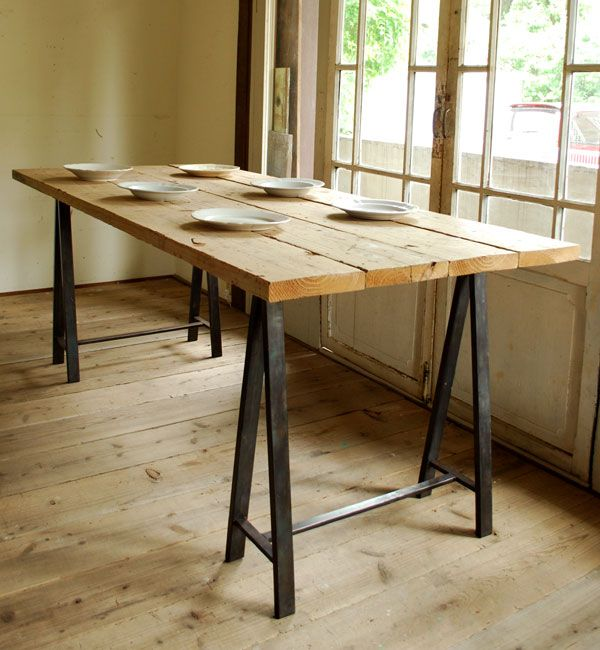 Iron Saw Horse Leg Table