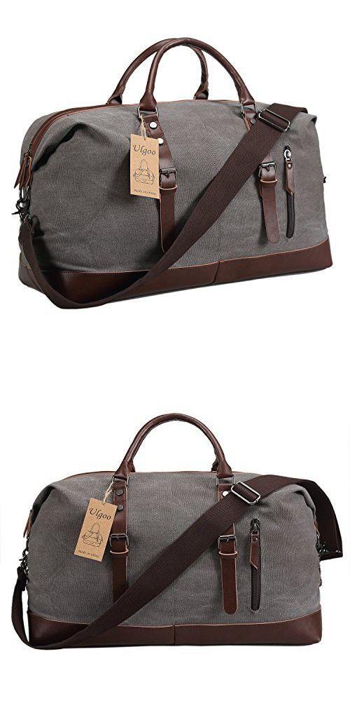 81e1e8fab2f3 Ulgoo Duffel bag Oversized Canvas Travel Bag PU Leather Weekend Bag  Overnight (Grey)