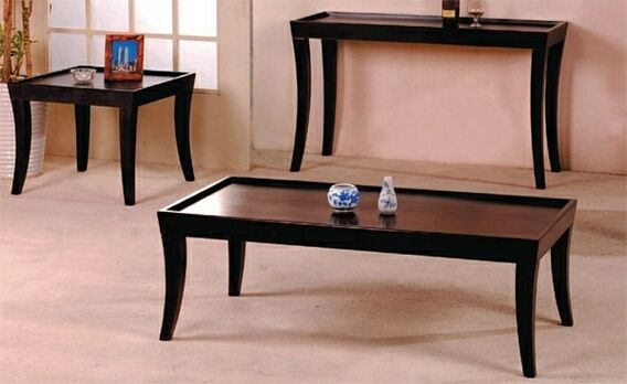 Best 3 Pc Espresso Finish Wood Coffee Table Set With Raised 400 x 300