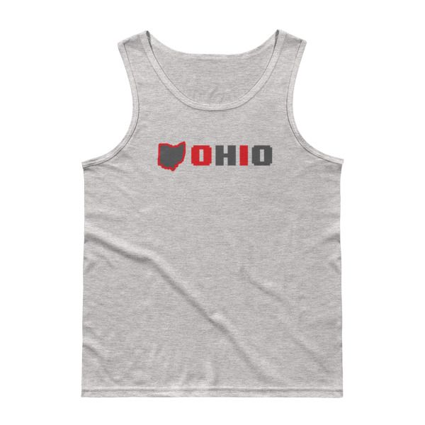 Men's tanktop donning the shape and name of Ohio. This buckeye themed tanktop is set to keep you styled and comfortable all summer long. (Brand: Darnell Creates)