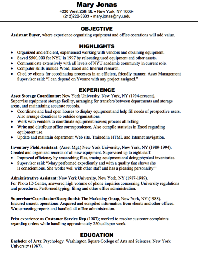 resume examples assistant buyer