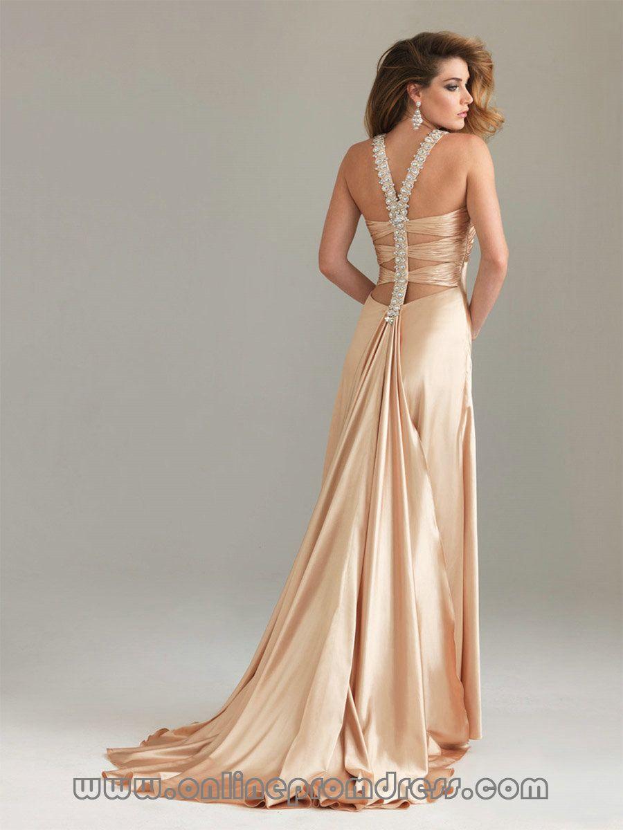 sexy bridesmaid satin dress   Satin Buy Champagne Prom Dress ...